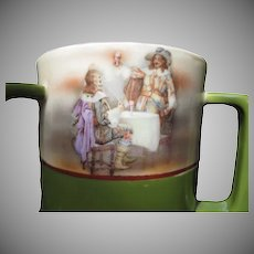 1900's Royal Bayreuth 3 Handled Loving Cup  a Tavern  Scene with Musketeers