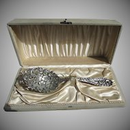 1900's Sterling Silver Huge  & Heavy Pierced Ice / Pea Serving Spoon