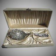 1900's Sterling Silver Huge  & Heavy Pierced Ice / Pea Serving Spoon