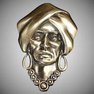 1930's -1940's Sterling Silver Pin / Brooch of Gypsy / Swami Head