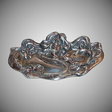 1900's Kerr Sterling Silver  Art Nouveau Pin Tray w/ Ladies Head and Flowers