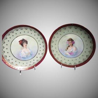 "Pair of 1890's -1900's 11 3/4"" Victorian Beautiful Lady Portrait Plaques"