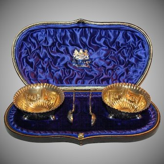 Pair of 1900's Fancy Decorated English Silver Salters & Spoons with Royal Blue Presentation Box