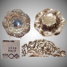 1890's Beautiful Dominick & Haff Sterling Silver Floral Bowl