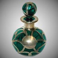 Sterling Silver Alvin Overlay Perfume Bottle w/ Dark Green Glass & Ball Stopper