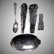 "Fantastic Art Nouveau Figural Lady ""Raphael"" Pattern Sterling Spoon / Souvenir of Ohio"