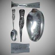 Shiebler Sterling Chicago Souvenir Flora Series / Wild Rose Spoon No. 7