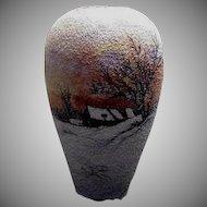 1900's Winter Scene Germany Pebbly Finish Large Vase