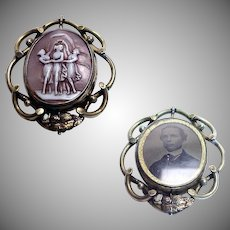 "Rare 1880's -1890's Victorian Photo/Cameo Swiveling Brooch/Pin with "" The Three Graces """