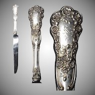 """Early Gorham Sterling Buttercup Pattern 9 & 1/2"""" HH Knife w/ French Stainless Blade"""