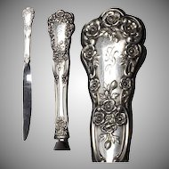 """Gorham Sterling Buttercup Pattern 9 & 5/8"""" HH Knife w/ Stainless Modern Blade"""