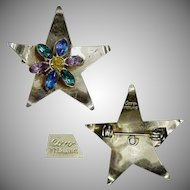 Coro Sterling Star Pin w/ Colored Glass Stones