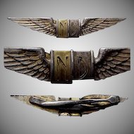 1930's-1940's Plated Wings Tie Clasp by Hickok