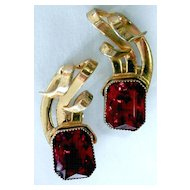 STERLING Retro Red Rhinestone Climbing Earrings - Gorgeous
