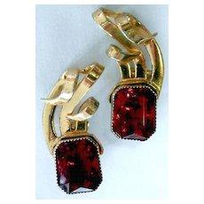 STERLING Retro Red Rhinestone Climbing Earrings - Gorgeous