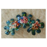1960s Artisan Abstract Floral Enamel Brooch