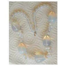 White FIRE OPAL Translucent Cluster Bead Necklace