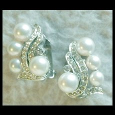 BERGERE Faux Pearl and Diamante Clip Earrings