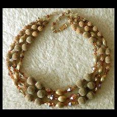 Amber Sugar Bead & Glass 3-Strand Vintage Necklace
