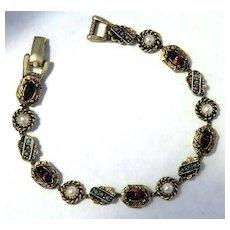 ART Faux Gem & Pearl Gold-tone Slide Bracelet