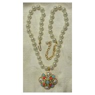 GRAZIANO Knotted Faux Pearl Necklace With Semi-Precious Stone Enhancer
