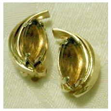 RETRO Amber Rhinestone Swirled Clip Earrings