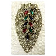 ART DECO Fruit Salad Rhinestone Dress Clip