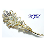 Vintage KJL Rhinestone Peacock Feather Brooch