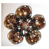 REGENCY Brooch - Root Beer AB Stones