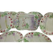 Set of Majolica French 'Barbotine' Asparagus Plates for 12 and Serving Platter c 1910