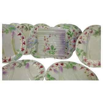 Set for 12 French 'Barbotine' Asparagus Plates and Serving Platter c 1910