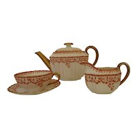 Antique Copeland Three Piece Teapot, Milk Jug and Cup and Saucer Set - Beatrice Pattern c 1860