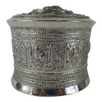 19thC Burmese Silver Shan Betal Box - 3 Piece Canister