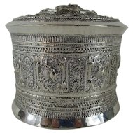 19thC Burmese Silver Betal Box - 3 Piece Canister