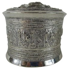 19thC Burmese Silver Shan Betal Box - 3 Piece Canister