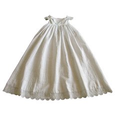 Antique Handmade Christening Gown c. 1838 with Exquisite Embroidery and Lace