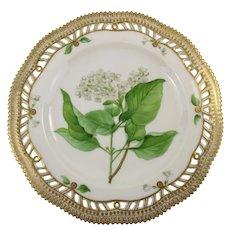 Rare Pre-1900 Flora Danica 9'' Pierced Luncheon Plate - Syringa Vulgaris by Royal Copenhagen - 3554