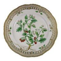 Rare Pre-1900 Flora Danica Pierced 9 3/4'' Dinner Plate by Royal Copenhagen -Solonius. Miniature.Bernh