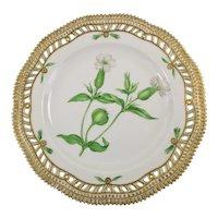 Rare Pre-1900 Flora Danica 9'' Pierced Luncheon Plate by Royal Copenhagen-Melandrium. Vespertinum. Fr.