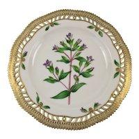 Rare Pre-1900 Flora Danica Pierced 9'' Luncheon Plate  by Royal Copenhagen - Gentiana. campetris.L