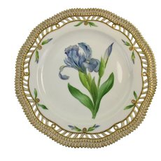 Rare Pre-1900 Flora Danica 9'' Pierced Luncheon Plate by Royal Copenhagen - Iris spuria. L. - 3554