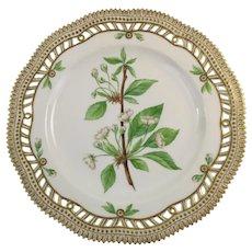 Rare Pre-1900 Flora Danica 9'' Pierced Luncheon Plate by Royal Copenhagen - Cerasus.avium.L.