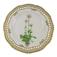 Rare Pre-1900 Flora Danica Pierced 9'' Luncheon Plate by Royal Copenhagen - Parnassia palustris. L.