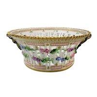 Extremely Rare Pre-1900 Flora Danica Round 8'' Fruit Basket by Royal Copenhagen -  Pyrus Malus .L