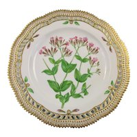 Rare Pre-1900 Flora Danica 9 3/4'' Reticulated Dinner Plate by Royal Copenhagen - Silene Armeria.L