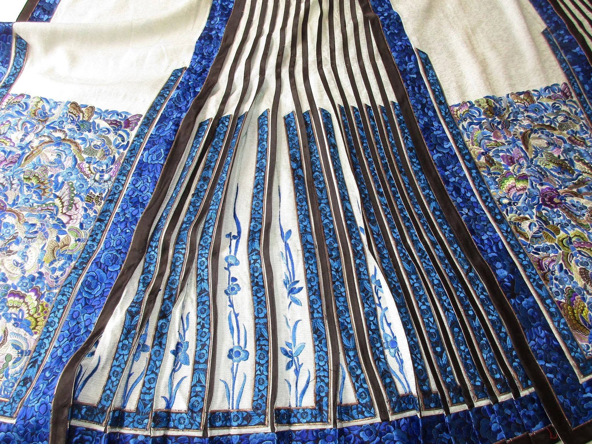 Antique Chinese Silk Embroidered Panel Wedding Skirt Han
