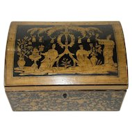 English Regency Penwork Box with Domed Top Chinoiserie Style - c 1790