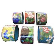 Colorful Oriental Cloisonné Napkin Rings - Set of 6