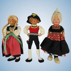 Group of Three Vintage Baitz Austrian and Dutch International Dolls