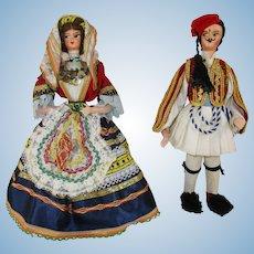"Two 9 - 9 1/2"" Greek International Travel Dolls - c 1960's"